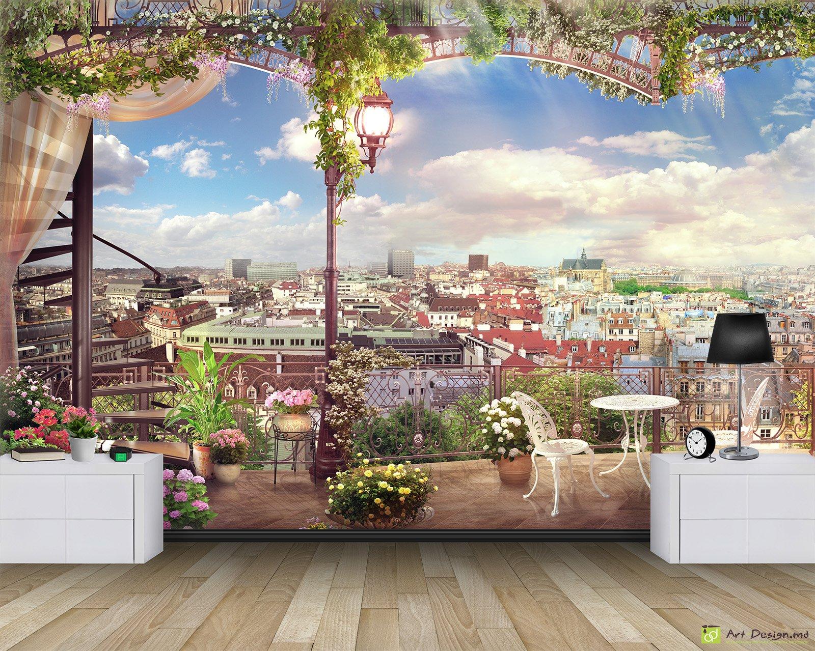 Фотообои окно в париж на кухне