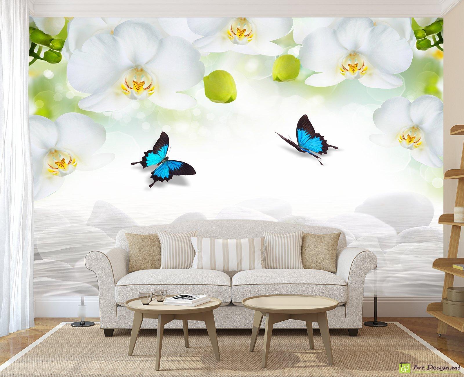 фотообои бабочка на белых камнях