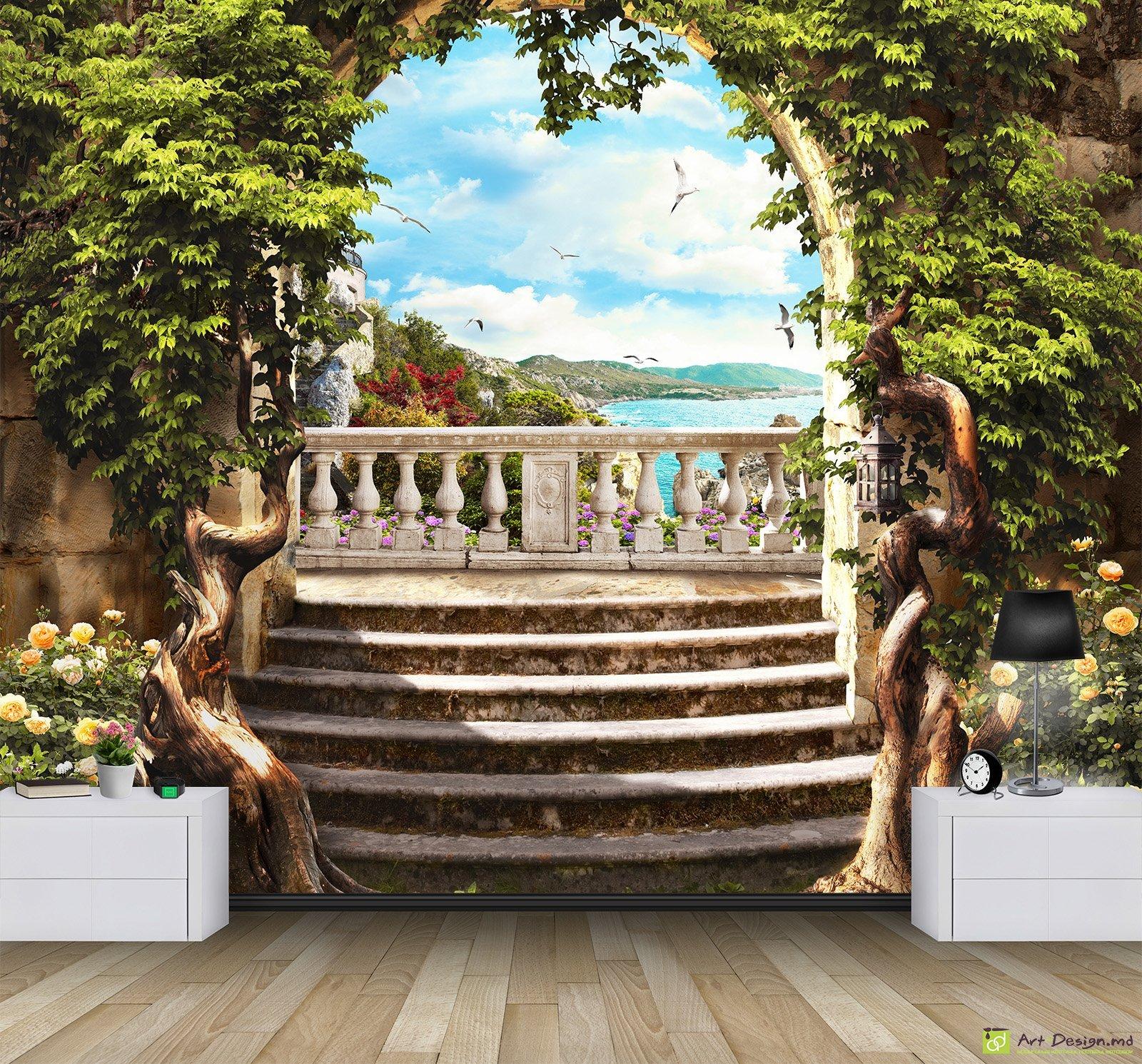 Купить фотообои арка с террасой с видом на море - арт. 32247.